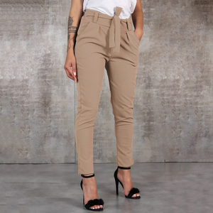 New High Waist Solid Pants Women Summer Casual Lace Up Harem Pants Female Loose Pockets Classic Trousers Plus Size S-2XL