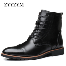 ZYYZYM Men Boots Leather Brogue Style Autumn and Spring Classic Men Motorcycle Boots British Boots Men Zapatos De Hombre british style men s short boots with buckle strap and ruched design