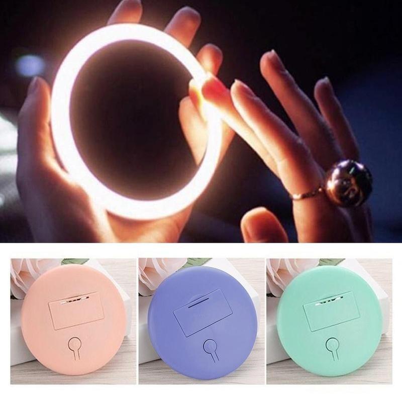 Mini Luminous lustro do makijażu przenośne śliczne Led Hd Smart Roud lustro do makijażu pudełko ze światłem dla kobiet Outdoor Wear Makeup Tools