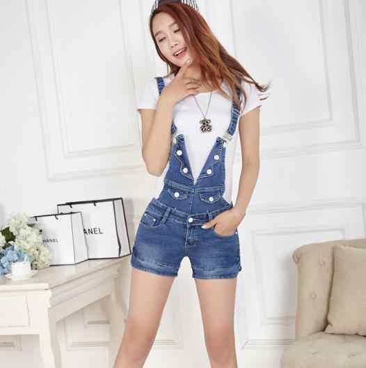 Summer Short Denim Jumpsuit Women Harajuku Jeans Romper Playsuits Harajuku Bandage Dungarees Overalls Shorts For Ladies RQ766