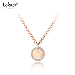 Lokaer Trendy Mosaic CZ Crystal Tag Charm Pendant Necklaces For Women Titanium Stainless Steel Choker Necklace Jewelry N19142