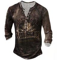 Camisetas estampadas a la moda para hombre, ropa informal con estampado Vintage de manga larga con botones, para primavera y otoño
