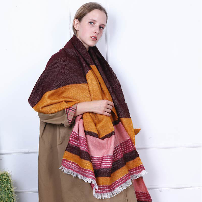 European and American New Style Striped Cashmere Scarf Women's Autumn and Winter Warmth with Loose Beard Fringed Scarf Shawl