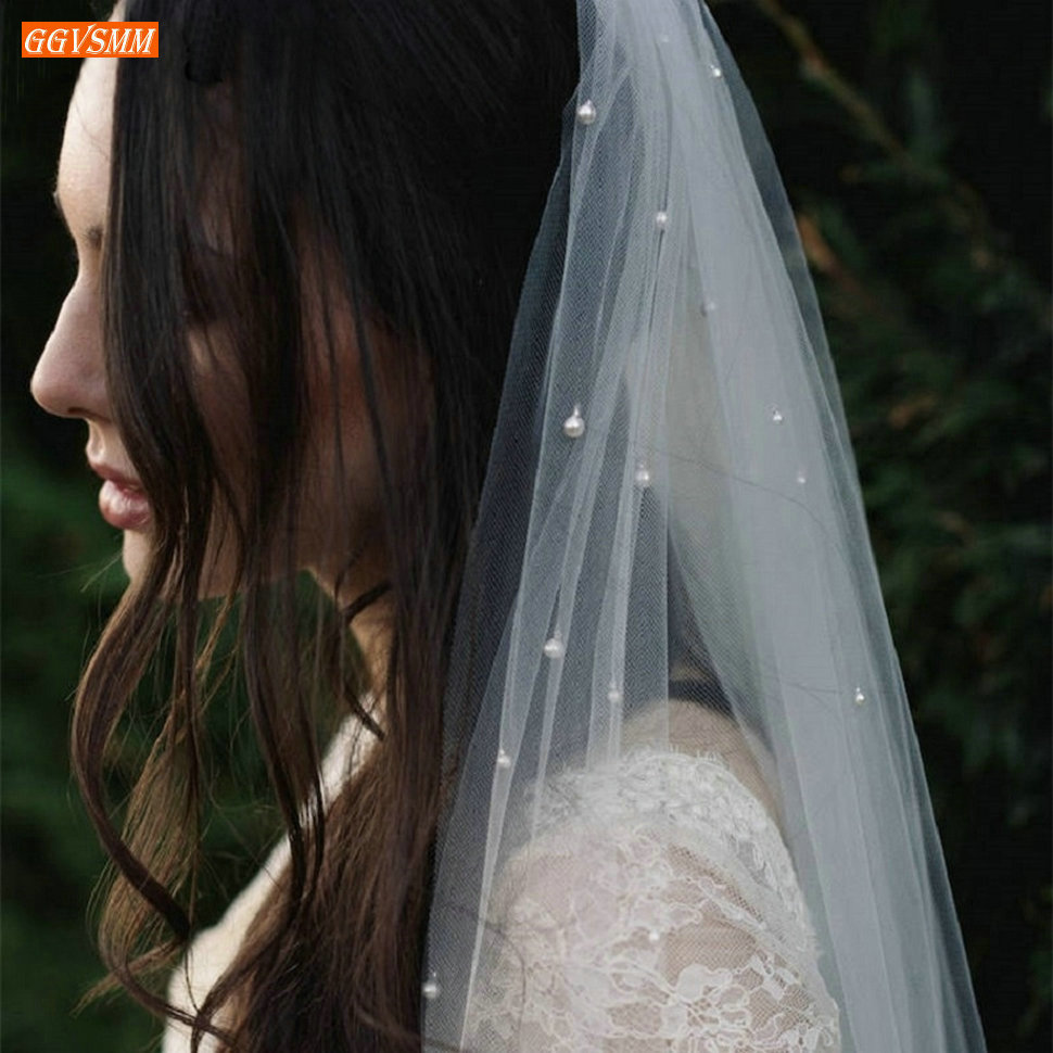 Illusion Two Layer 75 CM Short White Wedding Veil with Comb 2020 Pearls Soft Tulle Ivory Bridal Veils Cheap Bride Accessories
