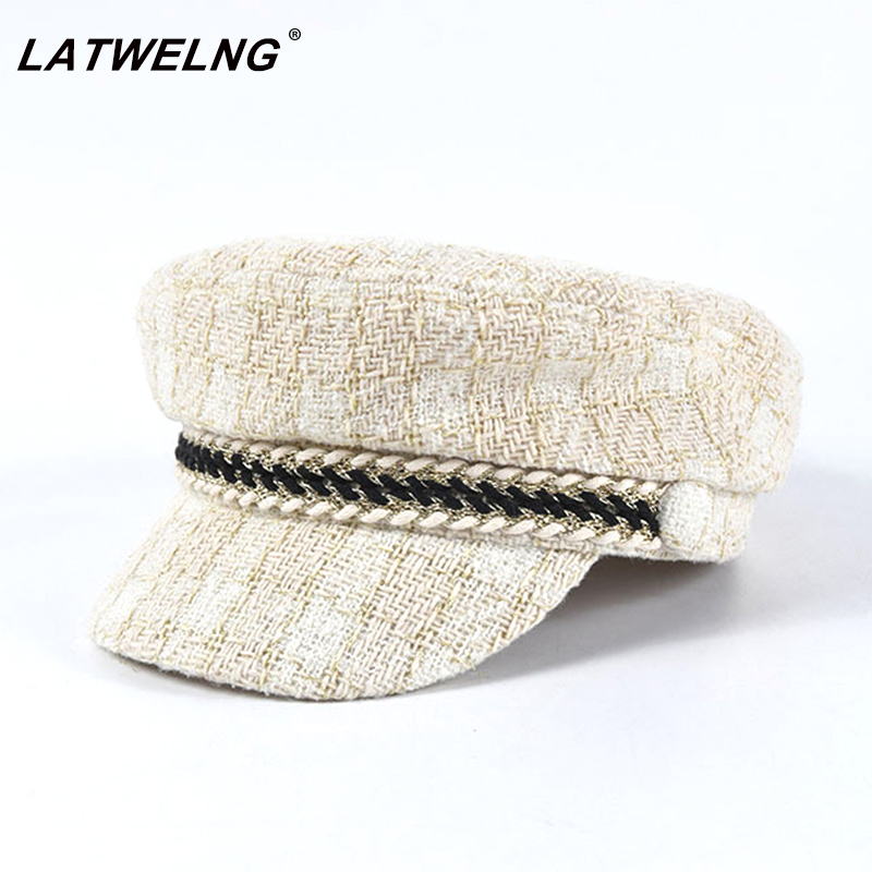 New Luxury Brand 30% Wool+Tweed Design Military Caps For Women Fashion Cotton Newsboy Cap Female Elegant Winter Octogonal Caps