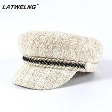 New Luxury Brand 30% Wool+Tweed Design Military Caps For Women Fashion Cotton Newsboy Cap female elegant Winter Octogonal