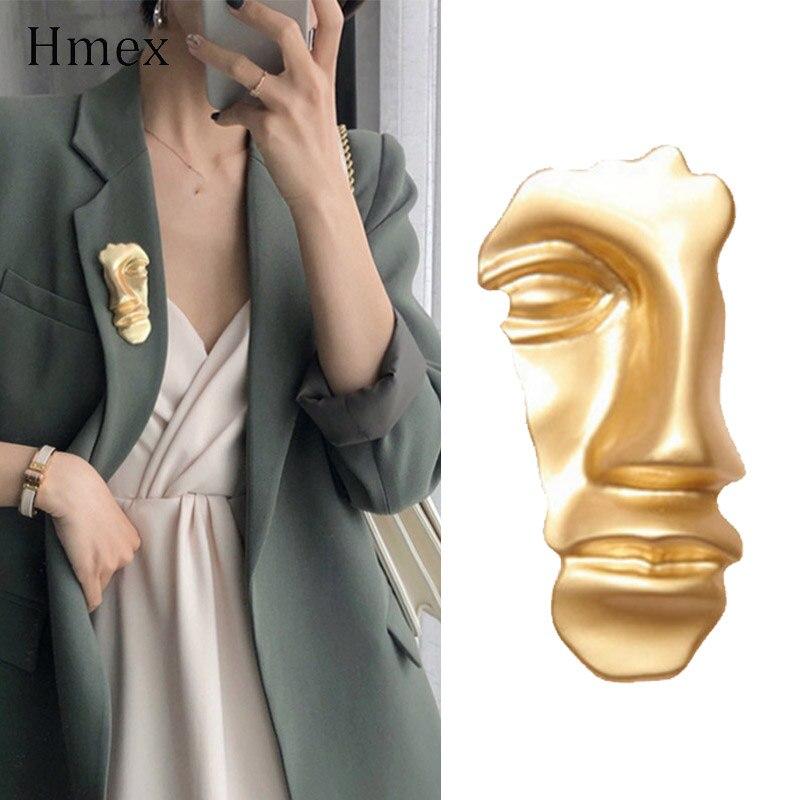2019 Broche Vintage Resumo Rosto Máscara Meia Face Pinos Retrato da Cor do Ouro da Mulher Broches Para As Mulheres Do Partido Moda Jóias