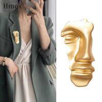 Broche Vintage 2019 máscara de cara abstracta para mujer Color dorado medio rostro broches con forma de retrato para mujer joyería de moda de fiesta