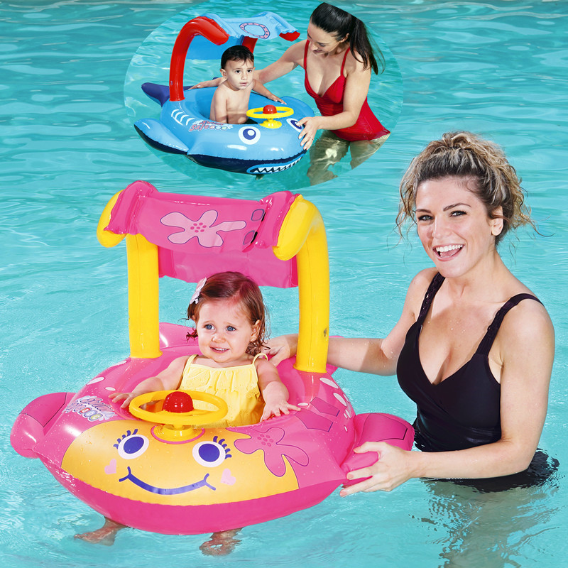 3-year-old Inflatable Ring Child Seat With Awning Baby Swimming Ring Life-saving Seat Ring Floating Air Cushion Water Toys