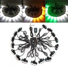 MZORANGE 16x2 LED Strobe Lights 32 Remote Control Wireless Car Grille Flash Auto Warning Lamp