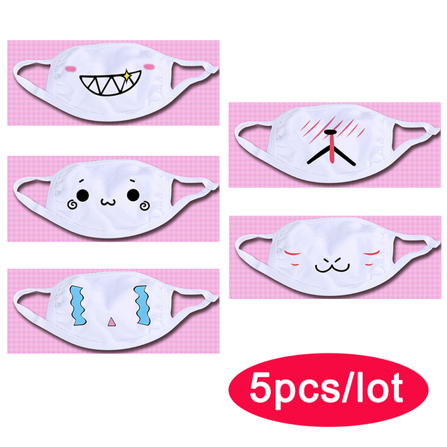 Wholesale Cute Mouth Mask Women kpop Cartoon Funny Face Masks Cotton Washable Reusable Anti Haze Dustproof Mouth-muffle White 3