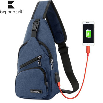 USB Charging Chest Bag Waterproof Wear-resistant Outdoor Sports Bags One-shoulder Strap Bag Travel Bag for Men Women 817 outdoor military tactical shoulder bag with usb charging chest bag wear resistant travel camping backpack cycling