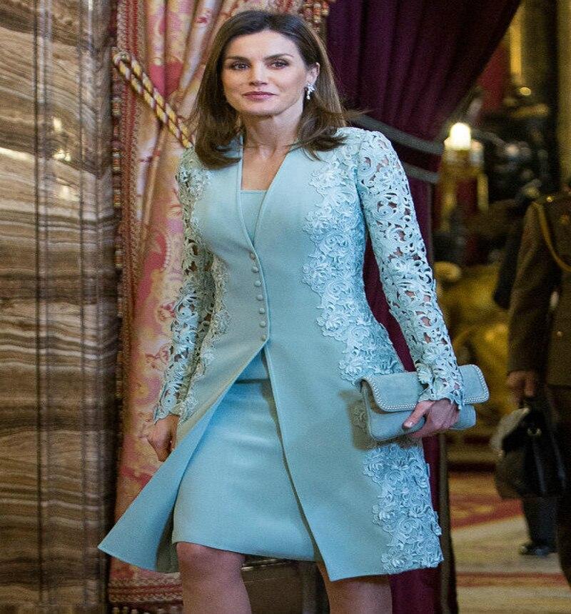 Espagnol extérieur bleu mère de la mariée costumes bleu Royal reine deux pièces à manches longues marié mère formelle robe de soirée femmes