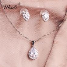 купить Miallo Fashion AAAAA CZ Wedding Necklace Earring Set Bridal Jewelry Set Water Drop Cubic Zircon Necklace for Women дешево