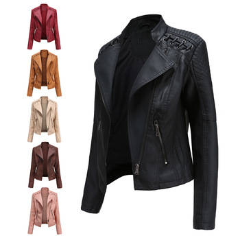 NXH  Turn-down Collar  PU  faux leather jackets women  luxury jacket black pink red biker coat women floral print embroidery faux soft leather jacket coat turn down collar casual pu motorcycle black punk outerwear zogaa