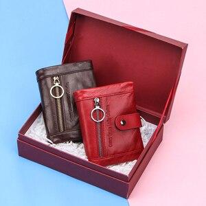 Image 4 - Contacts Small billetera de piel auténtica para mujer, monedero femenino, bolsillo con cremallera, tarjetero corto, bolso de mano tipo monedero Rfid
