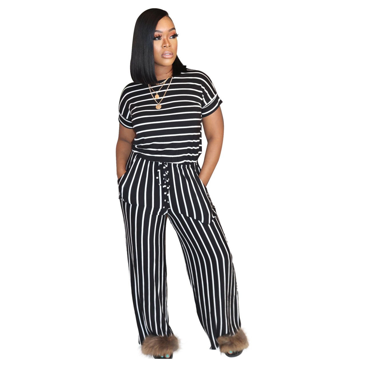 Had8081175a7c4a35a9aa7106180a4fe7i - Fashion Women Stripes Jumpsuits Summer New Arrival Short Sleeves Crew Neck Women Casual Rompers Loose Daily Wear Outfits