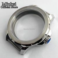 Miuksi 44mm sapphire glass silver stainless steel case fit Sea gull 3620 3600 hand winding movement mens watch case Watch Cases Watches -