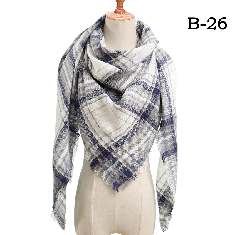 Женский зимний шарф в ретро стиле, кашемировые вязаные пашмины шали, женские мягкие треугольные шарфы, бандана, теплое одеяло, новинка - Цвет: bb26