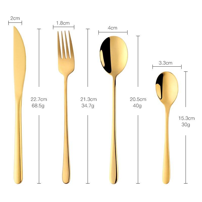 Stainless Steel Dinnerware 24 pcs Black Cutlery Set Fork Spoon Knife Set Western Tableware Party Table Utensils Home 6