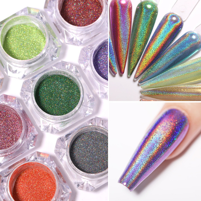 0.3g Metallic Nails Glitter Holographic Mirror Powder 12 Colors
