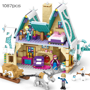 blocks Compatible lepining Friends  Disney Frozen  movie Frozeninglys  Princess Castle Brick kids toys for children 983pcs harri castle hall hogwartse express building blocks educational toys compatible with lepining friends city