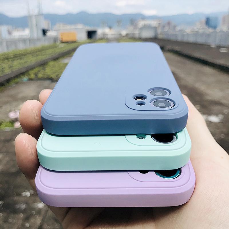 Lüks orijinal kare sıvı silikon telefon kılıfı için iPhone 12 11 Pro Max Mini XS X XR 7 8 artı SE 2 ince yumuşak kapak şeker durumda
