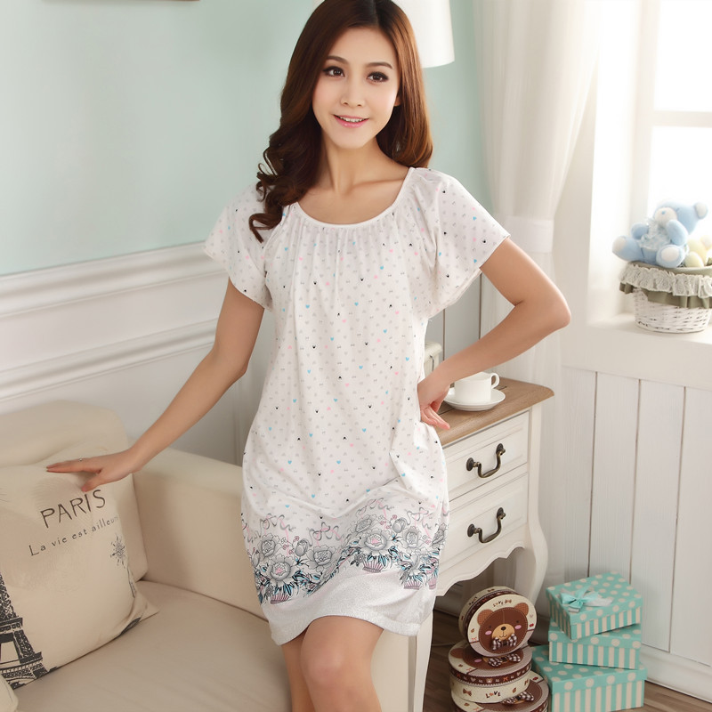 2019 Summer Qmilch Plus-sized Short Sleeve Middle-aged Printed Nightgown