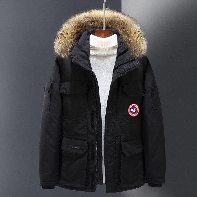 Youth Winter MEN'S Down Jacket Short Fur Collar Hooded Casual Men'S Wear Warm China Goose Down Jacket Men's