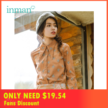 INMAN Winter New Arrival Turn Down Collar Embroidery Retro Artistic Flower Pattern Women Blouse Shirt