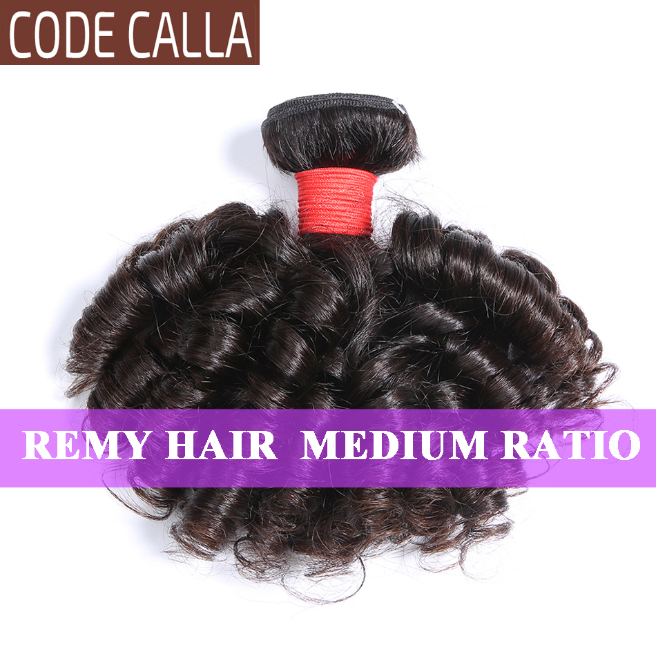 Code Calla Bouncy Curly Hair Bundles Brazilian Hair Remy Human Hair Weave Bundles Extensions Double Drawn Weft Natural Color