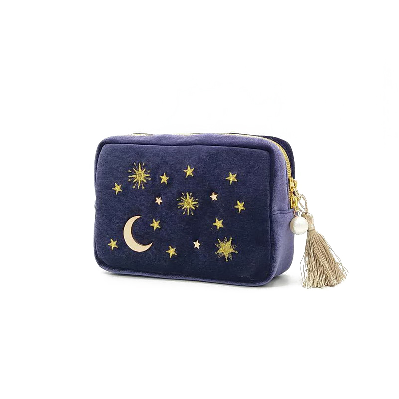 Star Moon Embroidery Jewelry Bag Travel Portable Mini Square Jewelry Box Ring Nail Earring Necklace Storage Bag