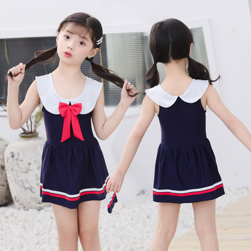 2019 New Style KID'S Swimwear Students Crew Neck Pleated Cute Bow Swimming Suit A Generation Of Fat