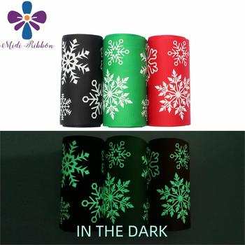 "3""75mm White Ink Printing Glow in the Dark Christmas Snowflake Printed Solid Color Grosgrain Ribbon DIY Bowknots 50yards/roll"