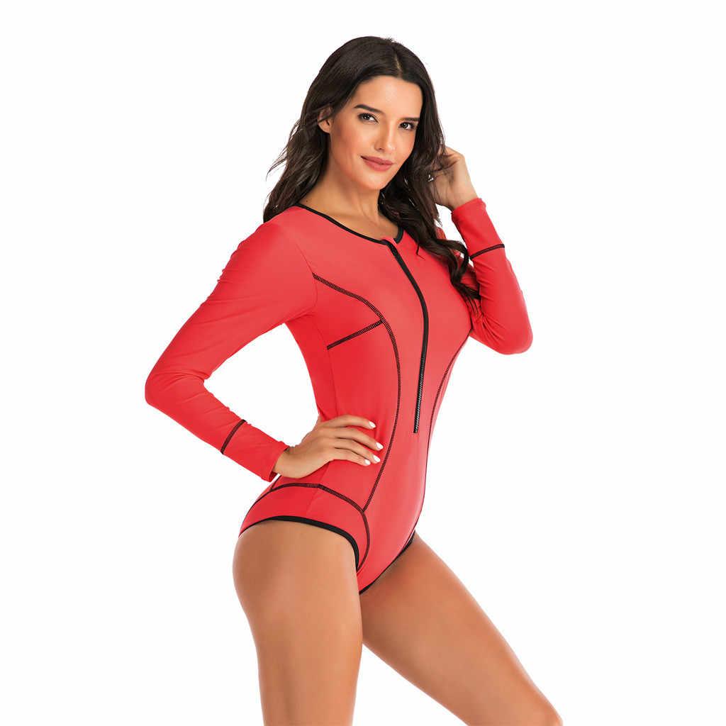 طفح الحرس طويلة الأكمام قطعة واحدة ملابس السباحة النساء الغوص UV السباحة تصفح ملابس السباحة UPF50 + الجبهة البريدي المرقعة Rashguard دروبشيب