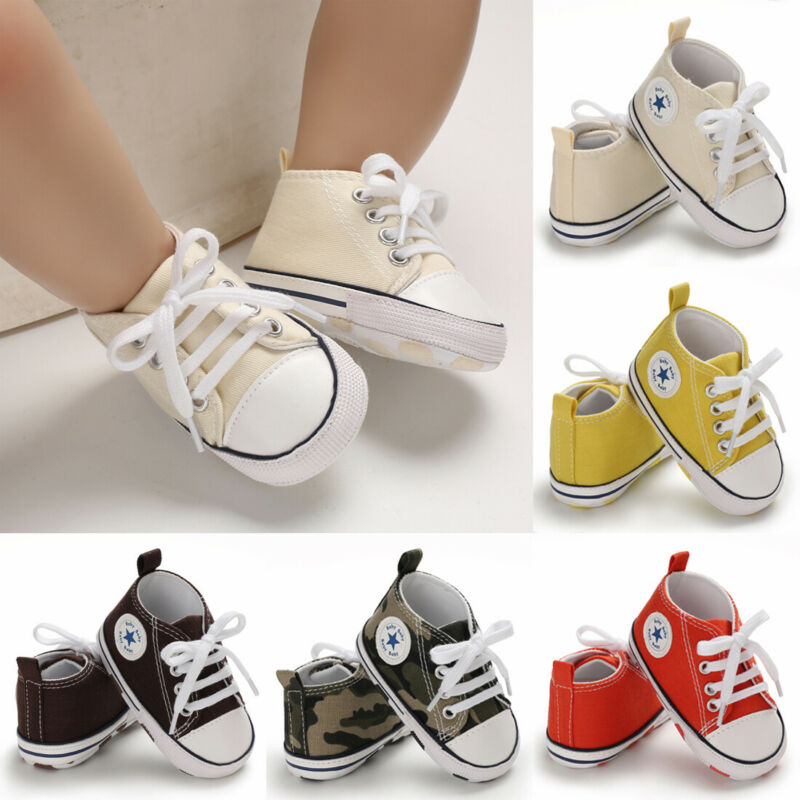 Baby Kids Boy Soft Sole Crib Shoes Canvas Lovely Pram Shoes Sneakers Prewalkers