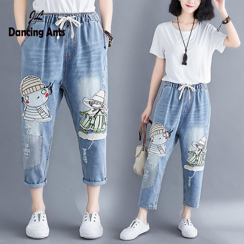 2020 Plus Size Jeans Women Cartoon Pants Loose Trousers Ripped Female Boyfriend Jeans Mujer  Hole Woman Pant