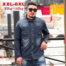 حجم كبير 8XL 6XL 5XL 2020 جديد ربيع الخريف قمصان دنيم عادية الرجال فضفاضة تناسب ماركة الملابس كبيرة الحجم الصلبة القطن قميص