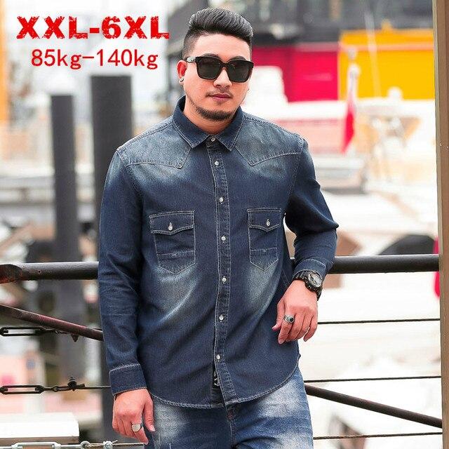 Camisas vaqueras informales de talla grande para hombre ropa de marca de corte holgado, talla grande, 8XL, 6XL, 5XL, primavera y otoño, 2020