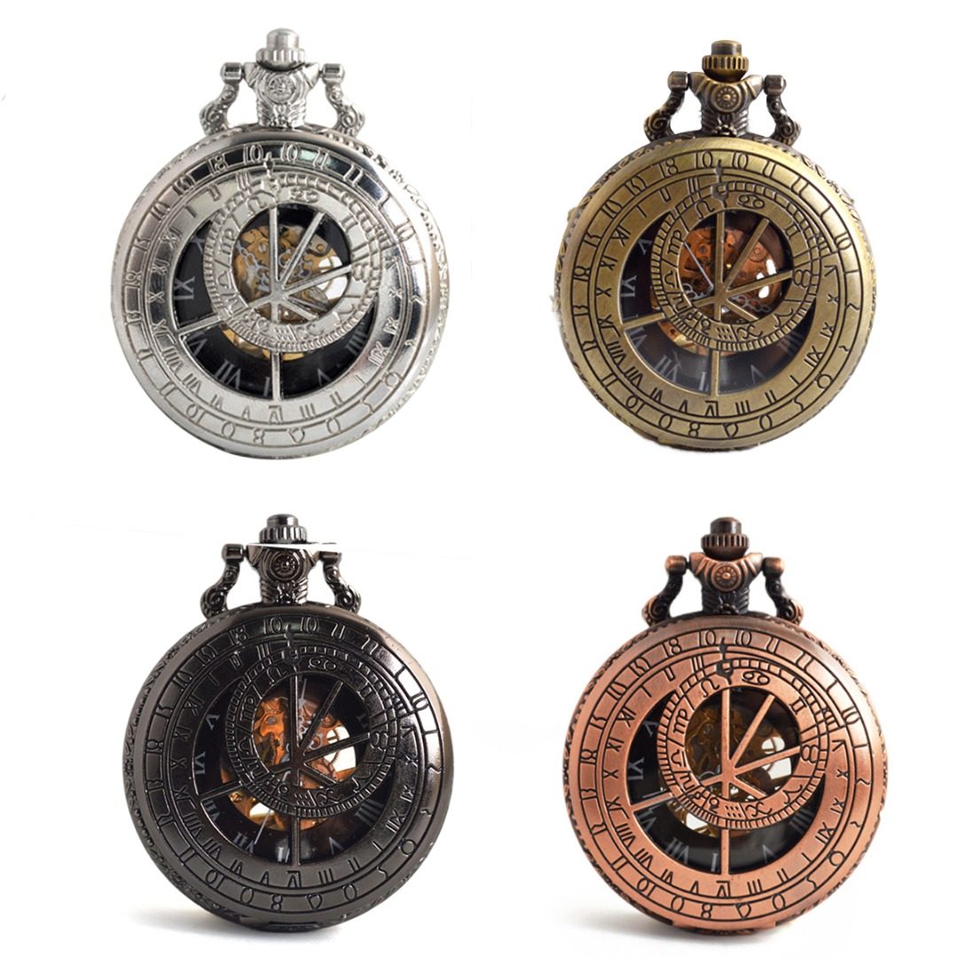 Vintage Mens Mechanical Pocket Watch Hollow Skeleton Zodiac Compass Pocket Watch Hand Winding Mechanical Watch Christmas