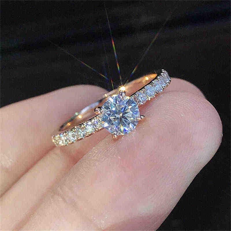 ใหม่แฟชั่นผู้หญิงสีเหลืองทองสีเหมาะสำหรับผู้หญิง Elegant หมั้นแหวน