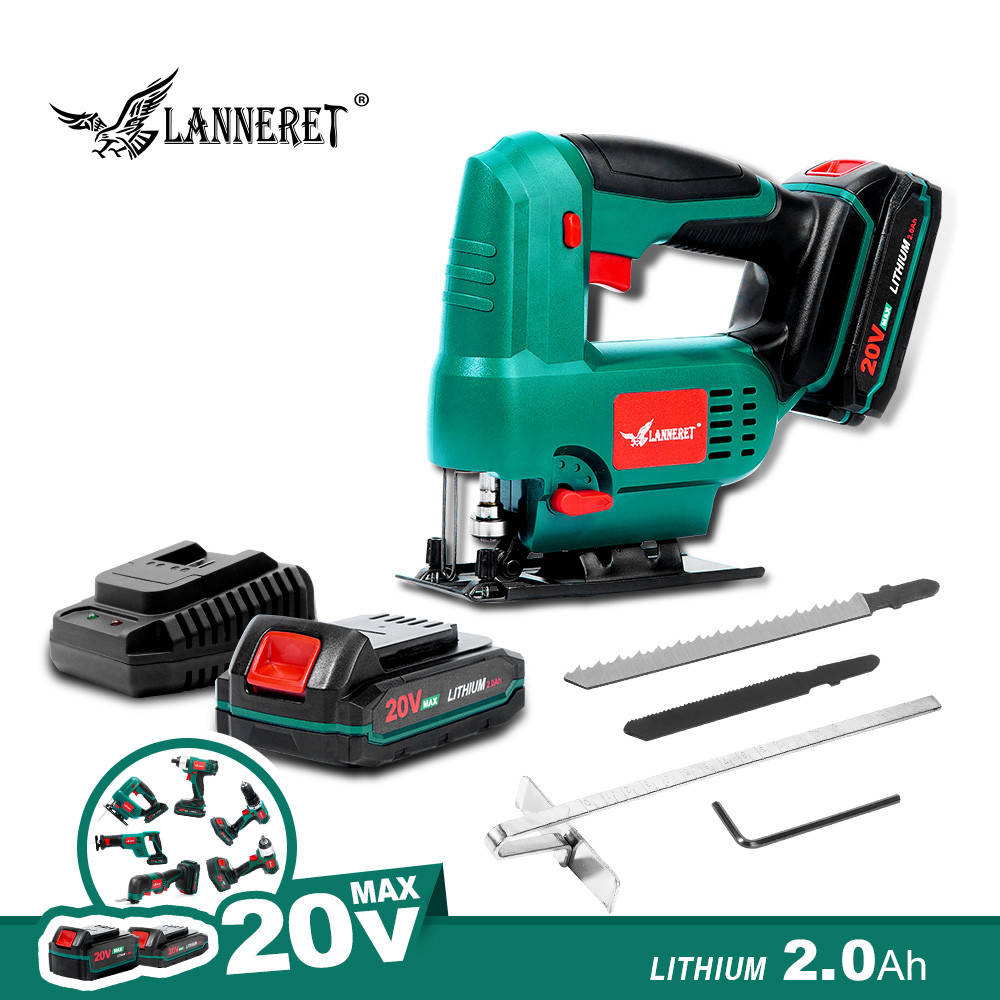 Cordless Jig Saw 20V Electric Saw Adjustable Speed with Wood Blade Metal Blades