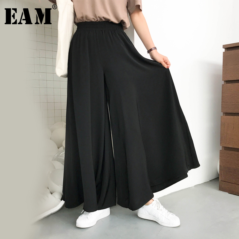 [EAM] High Elastic Waist Black Green Pocket Big Size Trousers New Loose Fit Pants Women Fashion Tide Spring Autumn 2019 1A705
