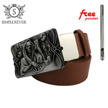 Retro Gothic Skull Belt Buckle In Silver Plating Western Metal for Men with Leather