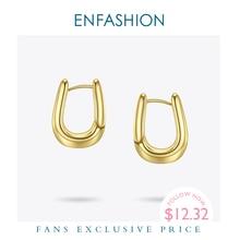ENFASHION U Form Hoop Ohrringe Gold Farbe Nette Geometrische Kleine Kreis Hoops Ohrringe Modeschmuck Für Frauen Geschenk Aros E191114