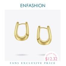 ENFASHION U Shape Hoop Earrings Gold Color Cute Geometric Small Circle Hoops Earings Fashion Jewelry For Women Gift Aros E191114