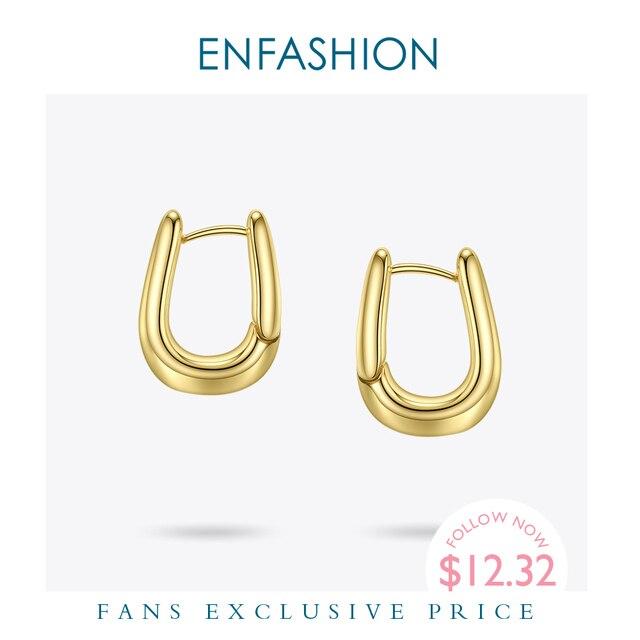 ENFASHION U צורת חישוק עגילי זהב צבע חמוד גיאומטרי קטן מעגל חישוקי עגילי תכשיטים לנשים מתנה Aros E191114