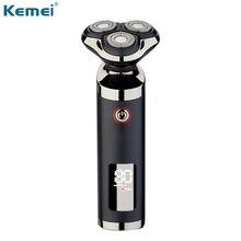 Kemei Men Razor 3 Blades Electric Shaver LCD Beard Trimmer Clipper Waterproof Cutter Shaving Machine