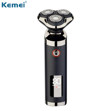 Kemei men navalha 3 lâminas barbeador elétrico lcd aparador de barba clipper cortador à prova dwaterproof água máquina de barbear