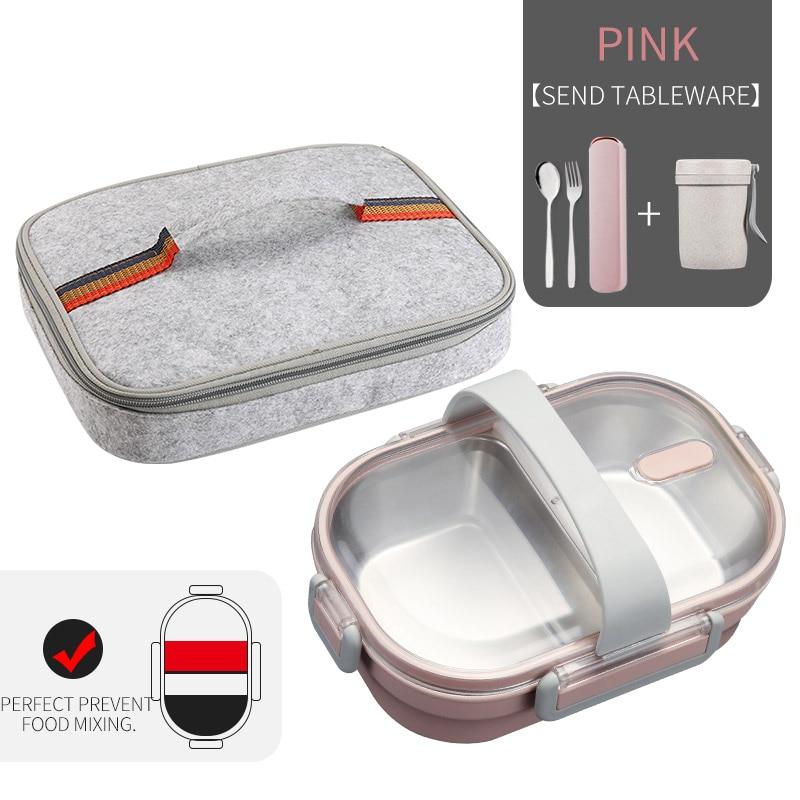 WORTHBUY японский Ланч-бокс для детей школы 304 из нержавеющей стали бенто Ланч-бокс герметичный контейнер для еды детская коробка для еды - Цвет: B Pink Bag Cup Set